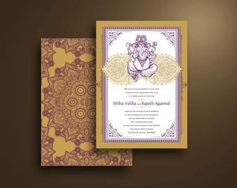 Nitha Ganesh Traditional Indian Wedding Invitation Purple and Gold