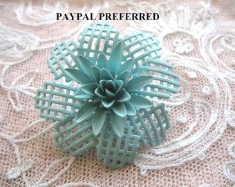 Vintage Enamel Flower Brooch ~ Turquoise