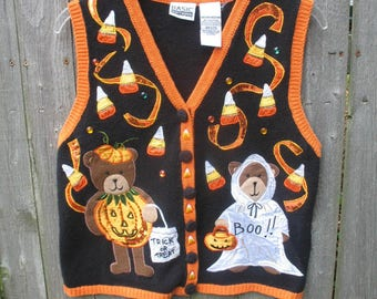 Vintage Ugly Halloween Sweater Vest ~ Teddy Bears ~ Boo ~ Tacky
