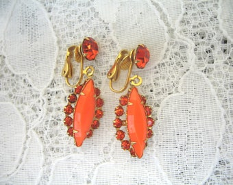 Vintage Rhinestone Earrings ~ Clip On ~ Dangle ~ Orange Rhinestone