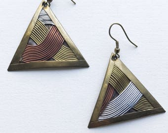Vintage Wiven Brass Copper Silver Triangle Dangle  Earrings