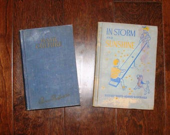 2 Books Hair Culture 1922 Methods for Growing & Beauty or children's School Book 1938 In Storm and Sunshine Holidays Words USA