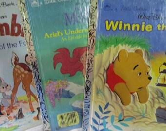 Set Of Three Walt Disney Little Golden Books - Bambi, Little Mermaid and Winnie the Pooh