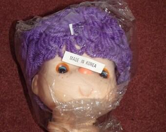 """Dumplin Designs 5"""" Mitzy Lollipop Lane Yarn Doll Head Purple hair"""