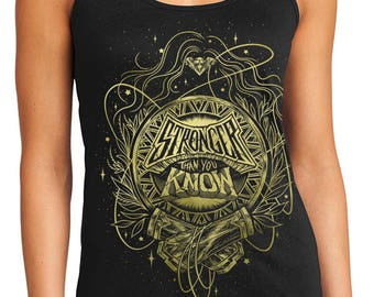 Wonder Woman Tank Top // Stronger Than You Know Tank Top // Hand Screen Printed // Black and Gold