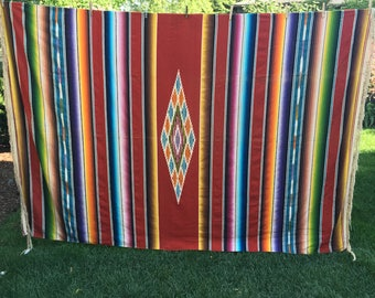 Vintage Mexican Blanket, Throw, stripe, wool, large, Mexican Saltillo