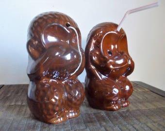 Pair of Vintage Tiki Style See No/ Speak No Evil Brown Monkey Cocktail glasses String Holders