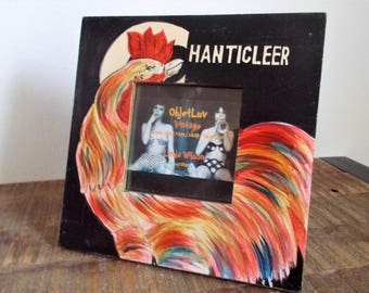 Vintage Hand Painted Chanticleer Rooster Picture Frame