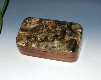 Small Wood Treasure Box - Buckeye Burl on Walnut - Handmade by BurlWoodBox - Trinket Box, Keepsake Box,Small Jewelry Box, Small Wooden Box