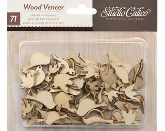 Studio Calico Wood Veneer BIRDS 71pc Dove Sparrow American Crafts Scrapbook Planner Mixed Media Tags
