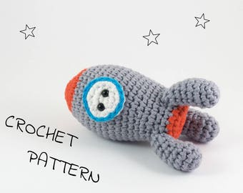 Amigurumi rocket stuffed toy crochet pattern - crochet space rocket toy - pdf tutorial US English