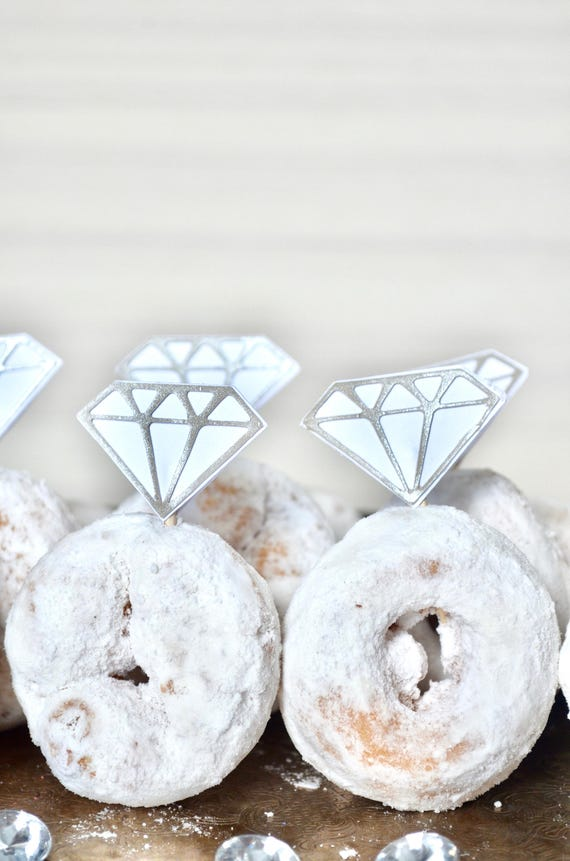 "Diamond ""Ring"" Toppers - gem picks for cupcakes, doughnuts, sandwiches and desserts"