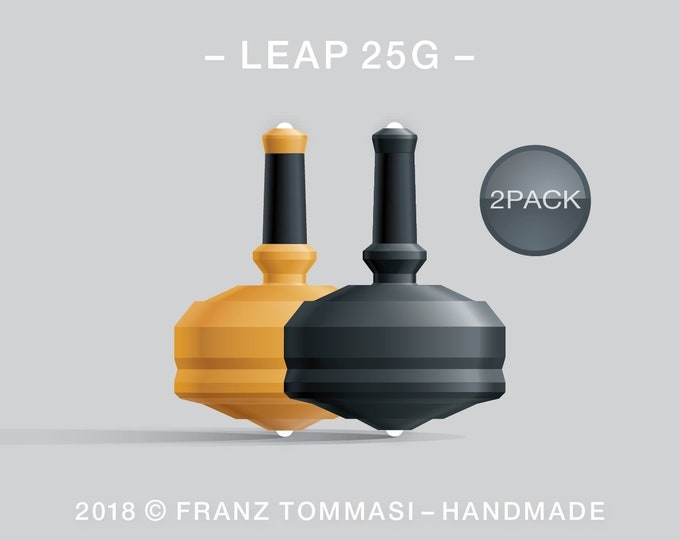 Leap 25G-2Pack (Yellow-Black) – Value-priced set of spin tops with dual ceramic tip and rubber grip