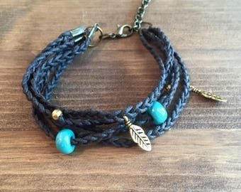 Brown Braided Leather Bracelet with Gold and Turquoise Accents