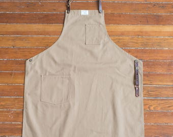 Removable Leather Strap Culinary Apron - Khaki HBT