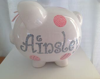 Personalized Large Pink and Grey Piggy  Bank Whimsical polka dots -Newborns ,Girls , Baby Shower Gift Centerpiece