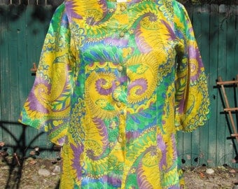 Vintage 70s - Psychedelic Multi Color long Sleeves Top