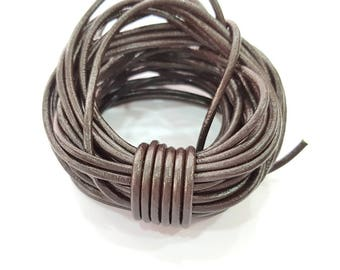 Leather Brown Cord 1mt-3.3 ft (3mm) Round Leather Lacing G7939