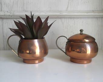 Copper Sugar Creamer Set