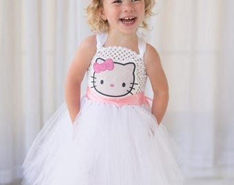 EARLYBIRD SALE Hello Kitty Inspired Halloween Costume or Birthday Dress Inspired Tutu Dress, Birthday Parties, or Dress Up