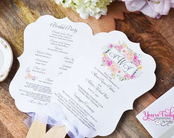Sample - Custom Bracket Shaped Die Cut Wood Handled Wedding Program Fan with Beautiful watercolor florals in Peaches and Pinks