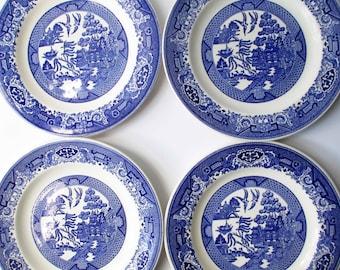 Vintage Blue Willow Homer Laughlin Royal Dinner Plates Set of Four