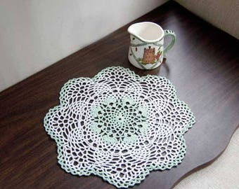 Mint Green and White Crochet Lace Doily, Tabletop Dining, Mint Green Pineapple Decor, Cottage Chic, Spring Table Accessory, 11 Inch Doily