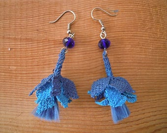 blue oya dangles, needle lace earrings