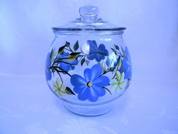 Cookie Jar Blue Floral Cookie Jar Painted Cookie Jar Glass