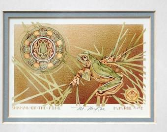 """M. M. Roe Pencil Signed Framed Print """"Shaman of the Pines"""" ~ Native American Frog Spirit ~ Signed Framed Print ~ Frog Totem / Medicine"""