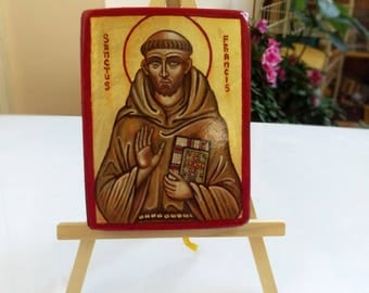 Saint Francis of Assisi icon, San Francesco d'Assisi handpainted original painting on wood, 3x4inch ,MADE TO ORDER