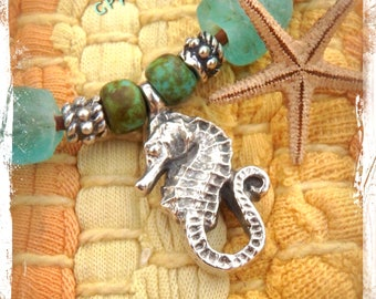 Sea glass SEAHORSE necklace leather necklace Nautical Layering necklace Cute Choker beach jewelry Mermaid jewelry Ocean Spa Vacation GPyoga