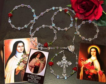 Heavenly Roses for St. Therese - Full-Size Relic Rosary - Catholic Rosary