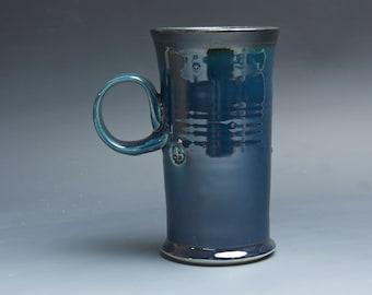 Sale- Pottery coffee mug, ceramic mug, stoneware tea cup deep glossy blue 16 oz 4041