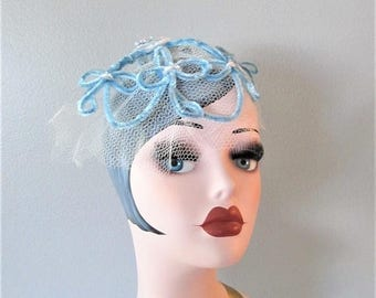 50% OFF SALE Vintage 1950's Blue Fascinator Hat / Birdcage Veil White and Sky Blue Chic Head Piece Mini Hat