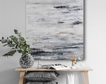 original abstract seascape painting large  white grey painting modern minimalist wall art 'day after day'