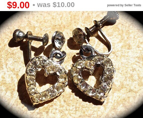 Summer Sale Vintage Earrings-Heart shaped- Rhinestone screw back earrings - Wedding Dangle Earrings- Vintage Rhinestone Earrings- JNP Vin...