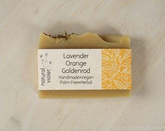 Lavender Orange, Vegan Soap, Handmade Soap, Palm Free Soap, Organic Soap, Herbal Soap, Bath and Body, Soaps, Bar Soaps, Vegan Bath Bar