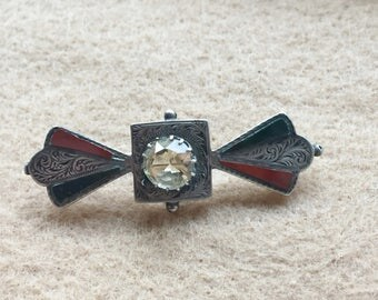 Victorian Pebble Brooch with Citrine - Original