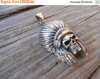 ON SALE Indian skull pendant in sterling silver 925