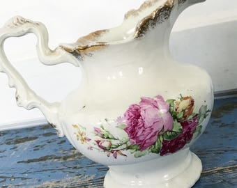 Vintage Floral Transferware Pitcher Pink Flowers Gold Accents Anchor Pottery