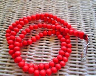 981  Coral 8mm wood beaded handmade lanyard/id badge-Women wood bead lanyard-Men wood bead lanyard