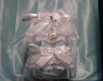 White Cinderella Rhinestone Pumpkin Carriage Wedding Garter Set