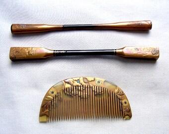 3 vintage Japanese Kanzashi hair accessories geisha hair comb hair pick hair fork hair ornament hair jewelry (AAL)