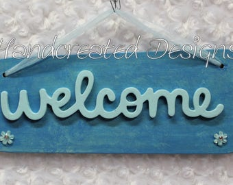 Blue Welcome Wood Sign, Recycled Fan Blade Wall Art, Upcycled Wall Hanging, Repurposed Wall Decor, Ribbon Hanger, Blue Flower Accents