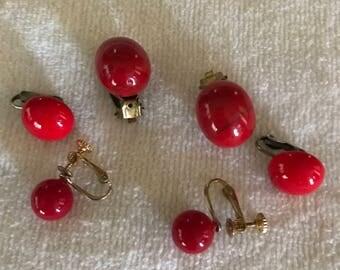 Three Pair Red Cab Clip Earrings