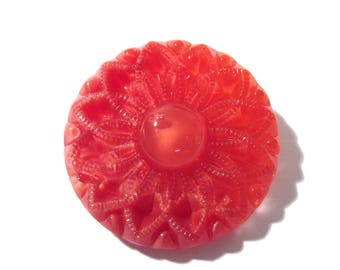 Czech Red Moonglow Glass 35mm FLOWER Button Czech Moonglow Button One (1) Reddish Flower Moonglow Jewelry Sewing Mosaic Supply (L335)