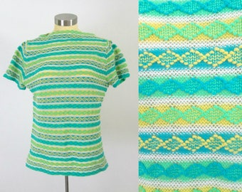 1960s Beeline Boat Neck Knit Pullover Top // Mid Century MOD Shades of Blue Green Yellow