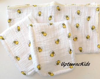 Double Gauze baby blanket wrap and two burp cloths Bumble Bee pattern