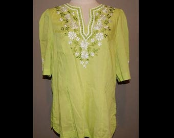 ON SALE Philippine Light Green Peasant Embroidered Top Blouse Bust 42